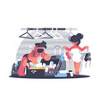 couple man and woman packing suitcase vector image vector image