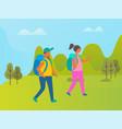 couple travelers people walking in green park vector image vector image