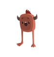 cute cartoon horned brown monster character with vector image vector image