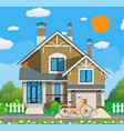 cute white private house with bicycle vector image vector image