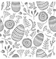 easter seamless doodle pattern hand drawn vector image