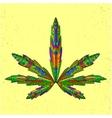entangle stylized marijuana leaf sketch vector image