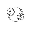 euro dollar exchange icon vector image vector image