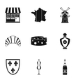 France icons set simple style vector image vector image