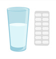 Glass with water and pills vector image