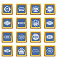 golden labels icons set blue vector image vector image