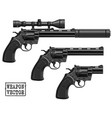 graphic silhouette old revolver with optical sight vector image vector image