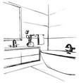 hand drawn bathroom interior furniture sketch vector image