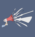 hand with speaking loudly megaphone vector image