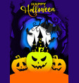 happy halloween poster template paper cut vector image vector image