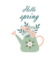hello spring spring card with watering can and vector image
