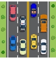 Highway traffic with top view cars vector image vector image