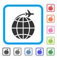international flight framed icon vector image