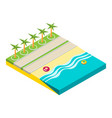 isometric beach objects isolated on white vector image vector image