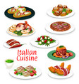 italian meat dishes seafood and vegetable salads vector image vector image