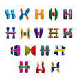 letters h in colors and shapes for brand identity vector image