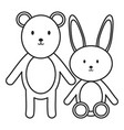 little bear teddy with bunny stuffed toys vector image vector image
