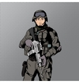 Military comics man vector image