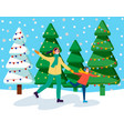mom and kid skating near snowy fir-tree vector image vector image