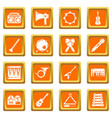 musical instruments icons set orange square vector image vector image