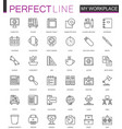 office workspace thin line web icons set outline vector image