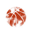 orange halftone basketball vector image vector image