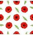 pattern with poppies flowers and green leaves vector image vector image