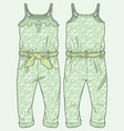 patterned jumpsuit ruffle at top vector image vector image