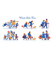 people hurrying to shopping and carrying purchases vector image vector image