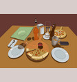 pizza on a served table color drawing vector image vector image