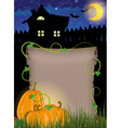 Pumpkins with parchment near the house vector image vector image
