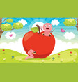 red apple and worm cartoon vector image vector image