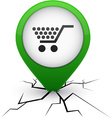 Shopping green icon in crack vector image vector image