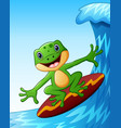 smiling frog cartoon surfing on big sea waves vector image