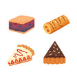 sweets desserts objects collection strawberry vector image vector image