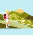traveler female girl nature landscape backpack vector image