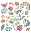 unicorn sweet set of stickers pins patches in vector image