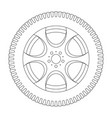 wheel with tyre outline icon vector image