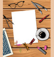 workspace with laptop notebook vector image vector image