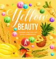 yellow diet fruits and vegetables vitamins vector image vector image
