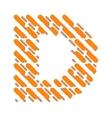 Striped latin alphabet letter D Hatching font vector image