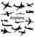 Collection of different airplane silhouettes vector image