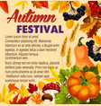 autumn acorn leaf pumpkin festival poster vector image vector image