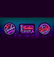 barber shop set collection logo neon sign logo vector image