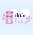 bashower hello raccoon flowers celebration vector image vector image