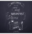 Breakfast on the restaurant menu chalkboard vector image vector image