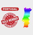 bright mosaic portugal map and scratched gold vector image vector image