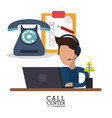 call center person laptop telephone review vector image