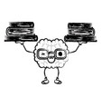 cartoon brain with glasses train the brain for vector image