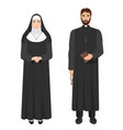 catholic priest and nun realistic vector image vector image